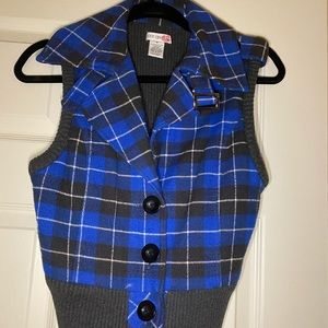 Royal blue and grey vest